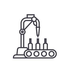 bottling line line icon sign vector image
