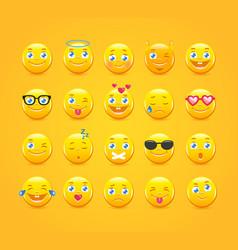 cartoon emoticons emoji icons yellow smiles vector image