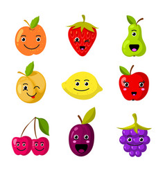cute kids fruit characters with funny vector image