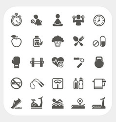Health and Fitness icons set vector image
