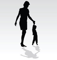 mother holding a child by the hand vector image vector image