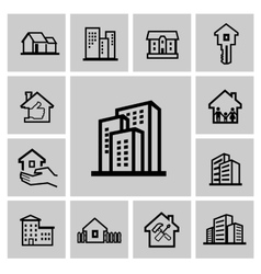 black hous icons set vector image vector image