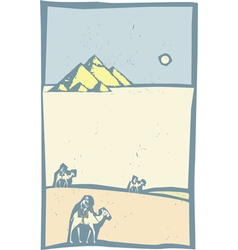 Camels in Desert vector image vector image
