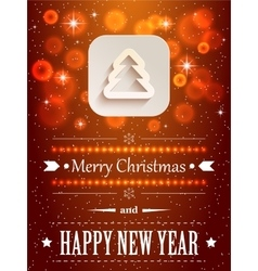 Christmas background with flares and paper icon vector image