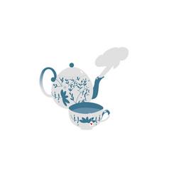 retro antique porcelain teapot and tea cup set vector image