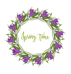 spring wreath with crocus flowers vector image vector image