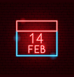 14 february calendar neon sign vector image