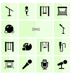 14 sing icons vector