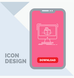 3d cube dimensional modelling sketch line icon in vector image