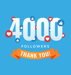 4000 followers social sites post greeting card vector image