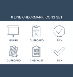 6 checkmark icons vector image