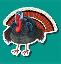 a turkey sticker character vector image