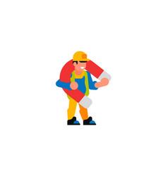 A worker holding large magnet builder vector