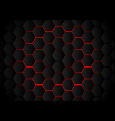 Abstract black hexagon pattern on red neon vector