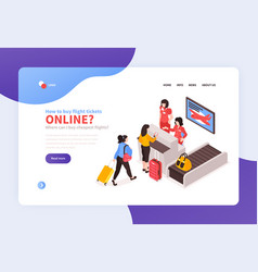 Airport check-in landing page vector