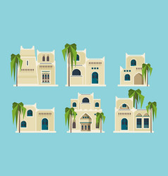 Ancient arabic houses old traditional muslim vector