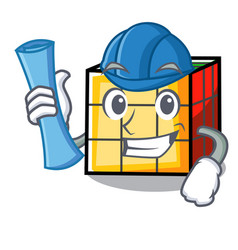 Architect rubik cube character cartoon vector