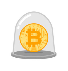 bitcoin in glass bell laboratory studies of vector image