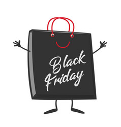 black friday shopping bag cartoon character mascot vector image