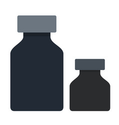 black ink bottles icon flat isolated vector image