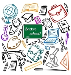 Blackboard and school supplies icons vector