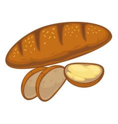 Bread loaf or wheat bagel bun icon vector