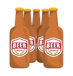 Brown bottles of beer icon image vector