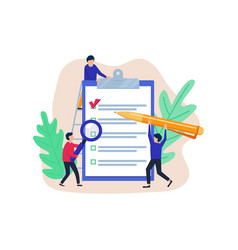 businessmen happy to fill a check sheet on the vector image