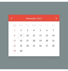 Calendar page for November 2015 vector image