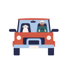 Cartoon male driver with dog on car flat vector