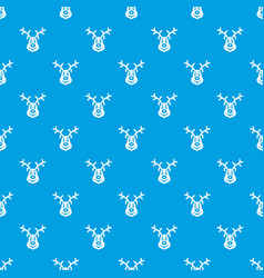christmas deer pattern seamless blue vector image