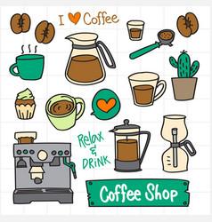 coffee doodle set maker vector image