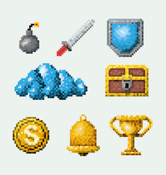 Color pixelated set of elements arcade game vector