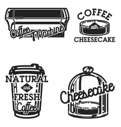 color vintage cafe emblems vector image