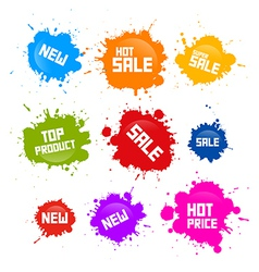 Colorful Sale Blots Icons Isolated on White vector image