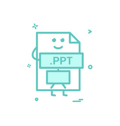 Computer ppt file format type icon design vector