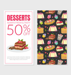 Desserts card template bakery shop cafe vector