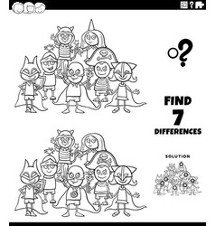 Differences task with kids at costume party color vector