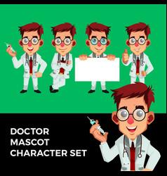 doctor mascot character set logo icon vector image