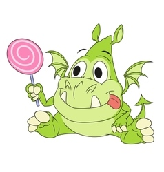 Dragon baby with candy 2 vector