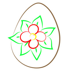 easter egg with flower on white background vector image