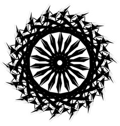 Edgy monochrome circular element black and white vector