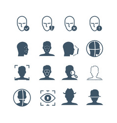 Face recognition safety software line icons faces vector