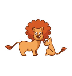 Father lion with thick mane and little lionet vector