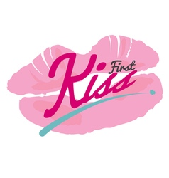 First Kiss Lipstick Kiss On White Background vector