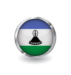 flag of lesotho button with metal frame and vector image