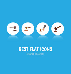 Flat icon court set of justice legal crime and vector