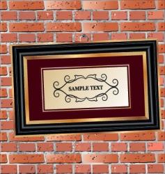 Frame on brick wall vector