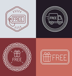 Free labels and badges in outline style vector