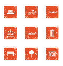 Game play area icons set grunge style vector